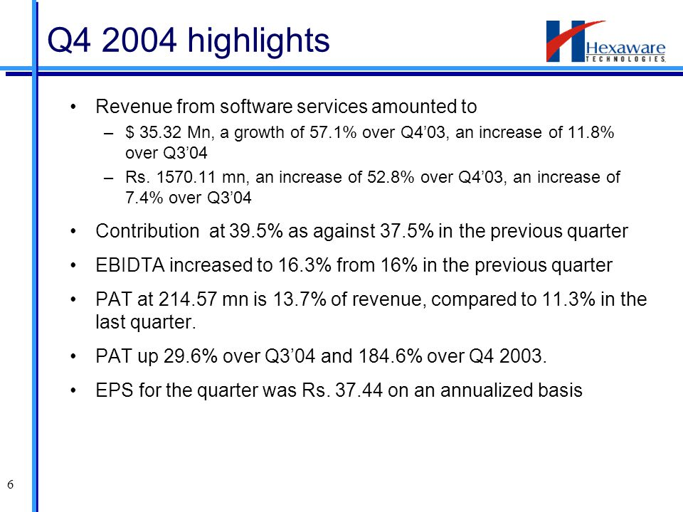 6 Revenue from software services amounted to –$ 35.32 Mn, a growth of 57.1% over Q4'03, an increase of 11.8% over Q3'04 –Rs. 1570.11 mn, an increase o