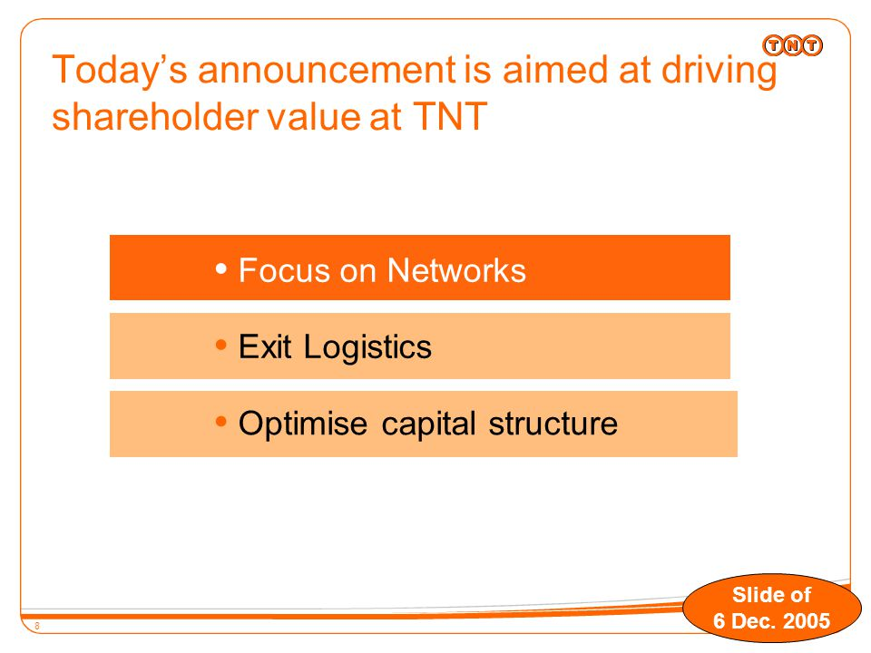 8 Today's announcement is aimed at driving shareholder value at TNT  Exit Logistics  Optimise capital structure  Focus on Networks Slide of 6 Dec.