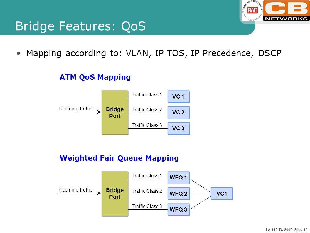 LA-110 TS-2006 Slide 19 Bridge Features: QoS Mapping according to: VLAN, IP TOS, IP Precedence, DSCP Traffic Class 3 Traffic Class 2 Traffic Class 1 B