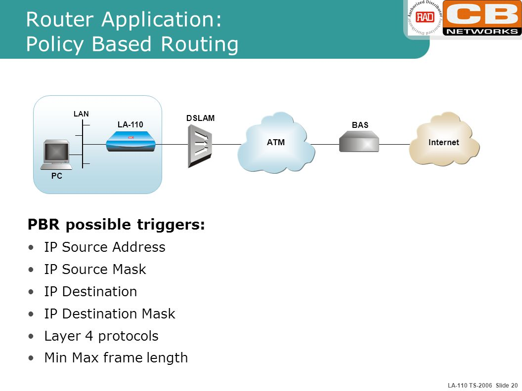 LA-110 TS-2006 Slide 20 Router Application: Policy Based Routing PBR possible triggers: IP Source Address IP Source Mask IP Destination IP Destination