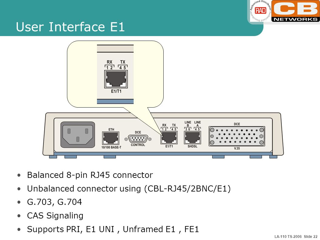 LA-110 TS-2006 Slide 22 User Interface E1 Balanced 8-pin RJ45 connector Unbalanced connector using (CBL-RJ45/2BNC/E1) G.703, G.704 CAS Signaling Suppo