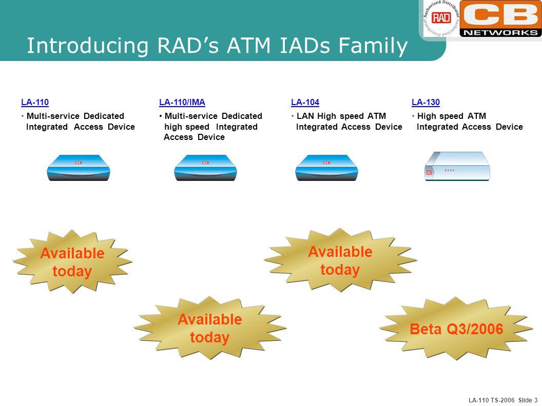 LA-110 TS-2006 Slide 3 LA-110 Multi-service Dedicated Integrated Access Device Available today Beta Q3/2006 LA-130 High speed ATM Integrated Access De