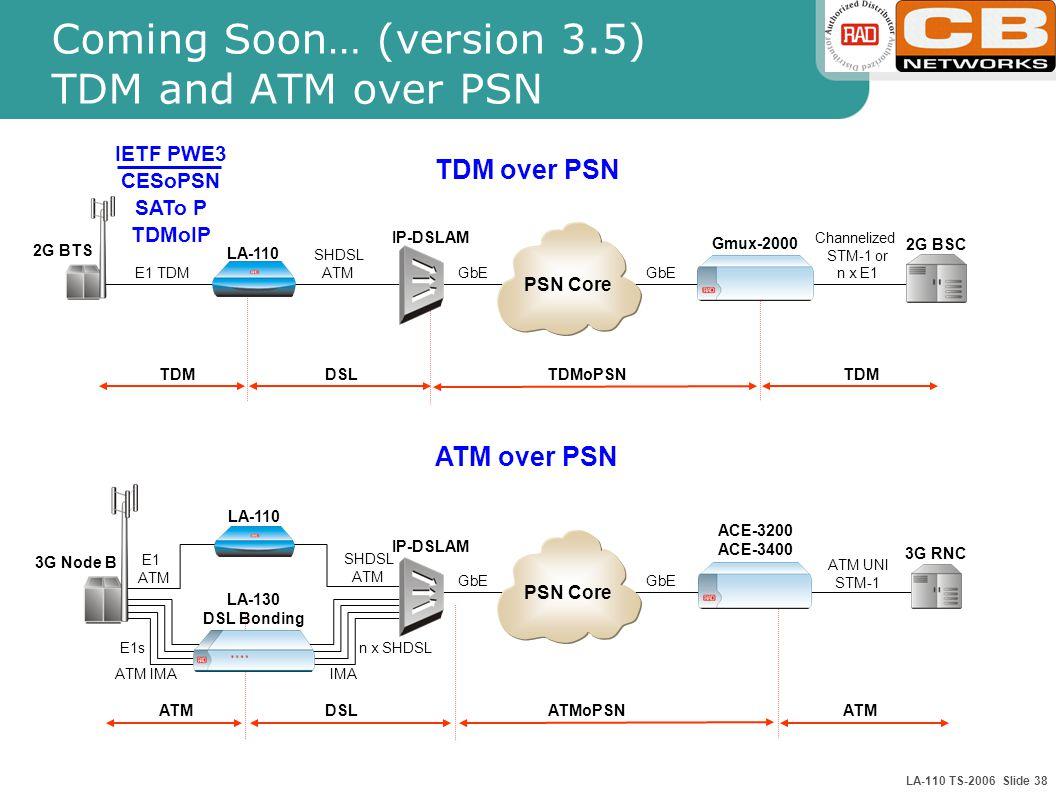 LA-110 TS-2006 Slide 38 Coming Soon… (version 3.5) TDM and ATM over PSN 2G BSC 2G BTS E1 TDM LA-110 SHDSL ATM IP-DSLAM GbE Gmux-2000 GbE Channelized STM-1 or n x E1 TDMoPSNTDM 3G RNC 3G Node B E1 ATM SHDSL ATM IP-DSLAM E1s LA-130 DSL Bonding ACE-3200 ACE-3400 ATM UNI STM-1 IMA ATM IMA ATMoPSNATM ATM over PSN TDM over PSN DSL PSN Core GbE PSN Core n x SHDSL LA-110 IETF PWE3 CESoPSN SATo P TDMoIP