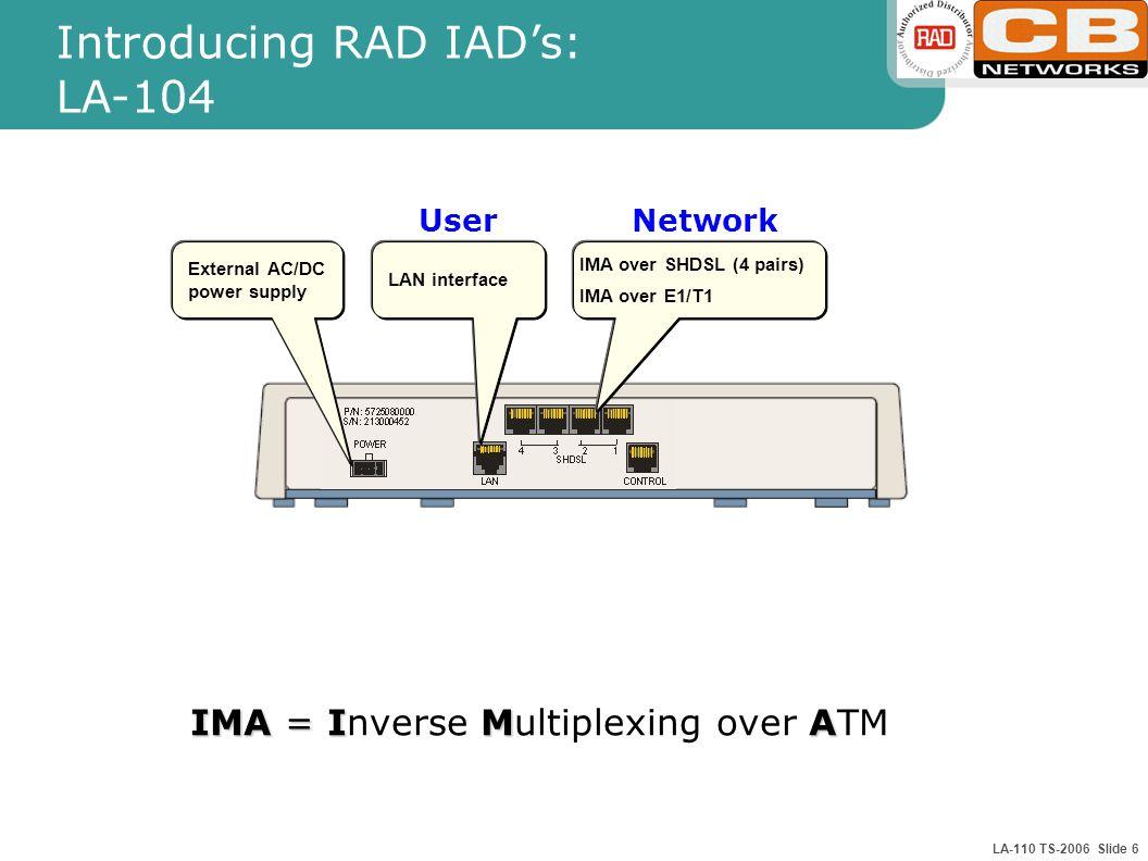 LA-110 TS-2006 Slide 6 IMA over SHDSL (4 pairs) IMA over E1/T1 LAN interface External AC/DC power supply Introducing RAD IAD's: LA-104 IMA =IMA IMA = Inverse Multiplexing over ATM UserNetwork