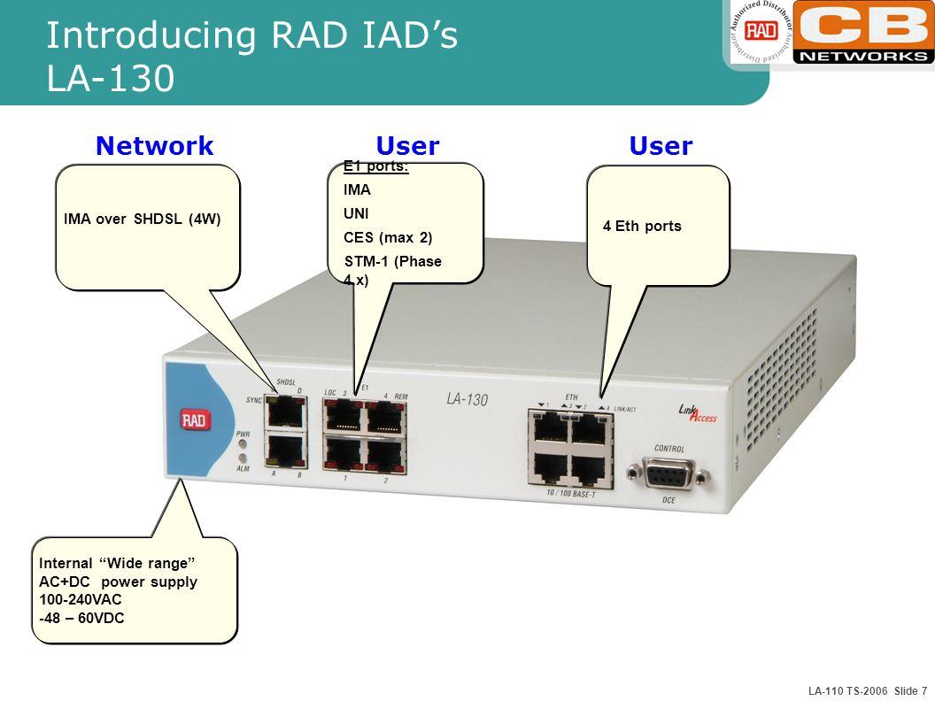 LA-110 TS-2006 Slide 7 Introducing RAD IAD's LA-130 IMA over SHDSL (4W) E1 ports: IMA UNI CES (max 2) STM-1 (Phase 4.x) 4 Eth ports Internal Wide range AC+DC power supply 100-240VAC -48 – 60VDC User Network User