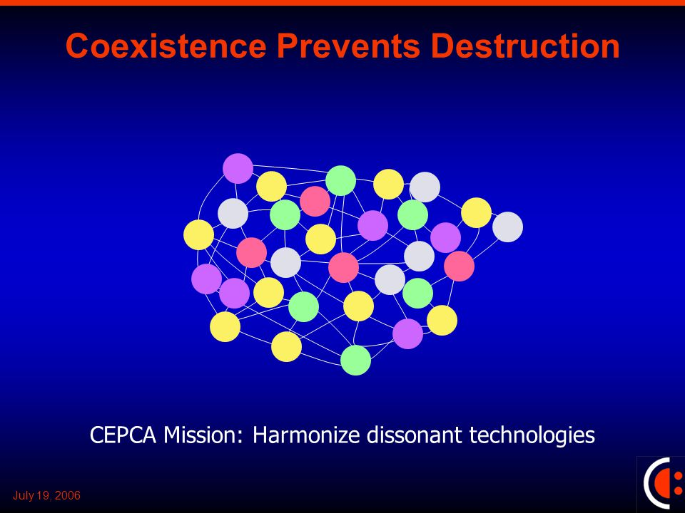 July 19, 2006 Coexistence Prevents Destruction CEPCA Mission: Harmonize dissonant technologies