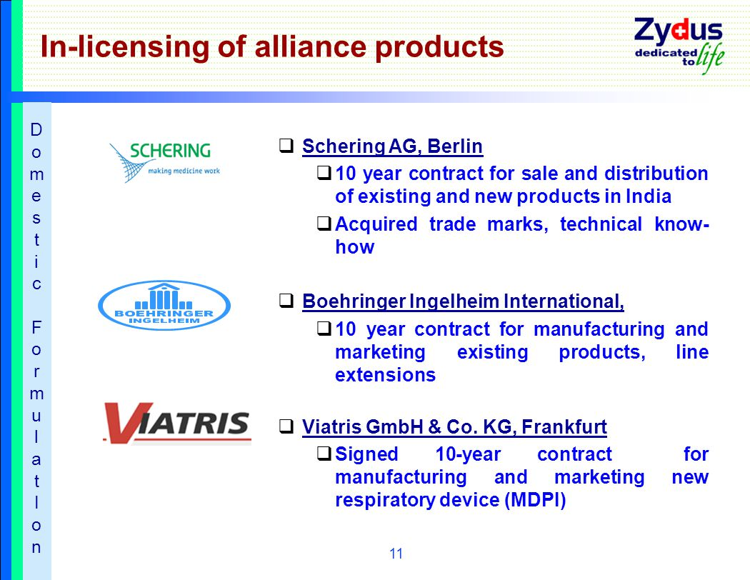 11 In-licensing of alliance products  Schering AG, Berlin  10 year contract for sale and distribution of existing and new products in India  Acquired trade marks, technical know- how  Boehringer Ingelheim International,  10 year contract for manufacturing and marketing existing products, line extensions  Viatris GmbH & Co.