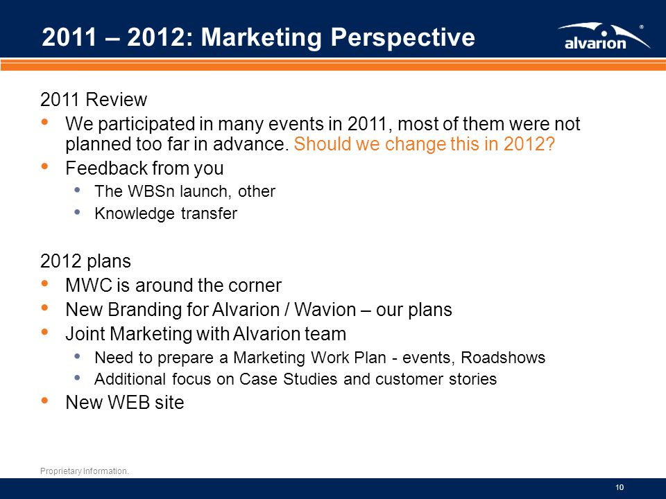 Proprietary Information. 10 2011 – 2012: Marketing Perspective 2011 Review We participated in many events in 2011, most of them were not planned too f