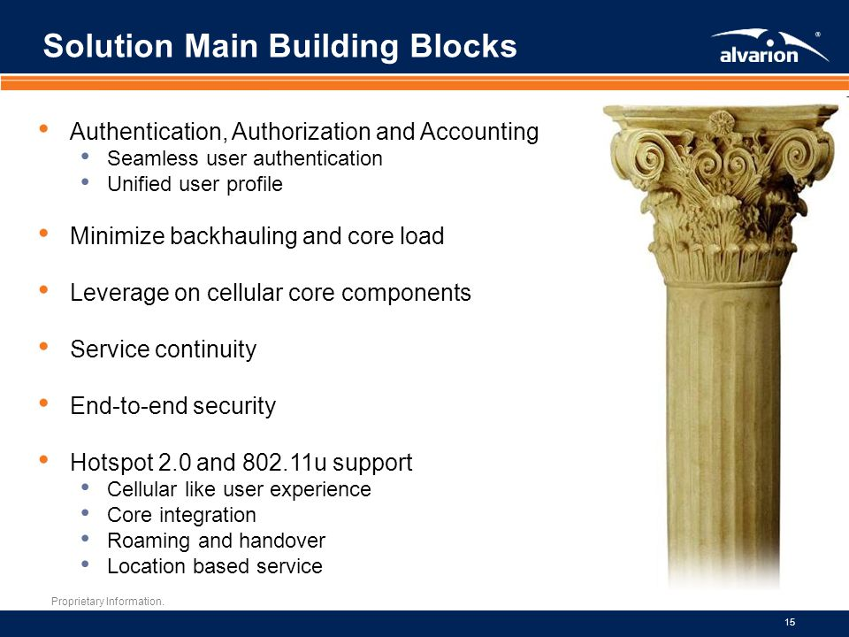 Proprietary Information. 15 Solution Main Building Blocks Authentication, Authorization and Accounting Seamless user authentication Unified user profi