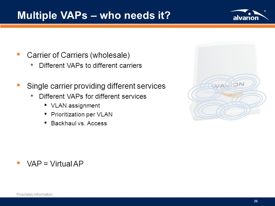 Proprietary Information.26 Multiple VAPs – who needs it.