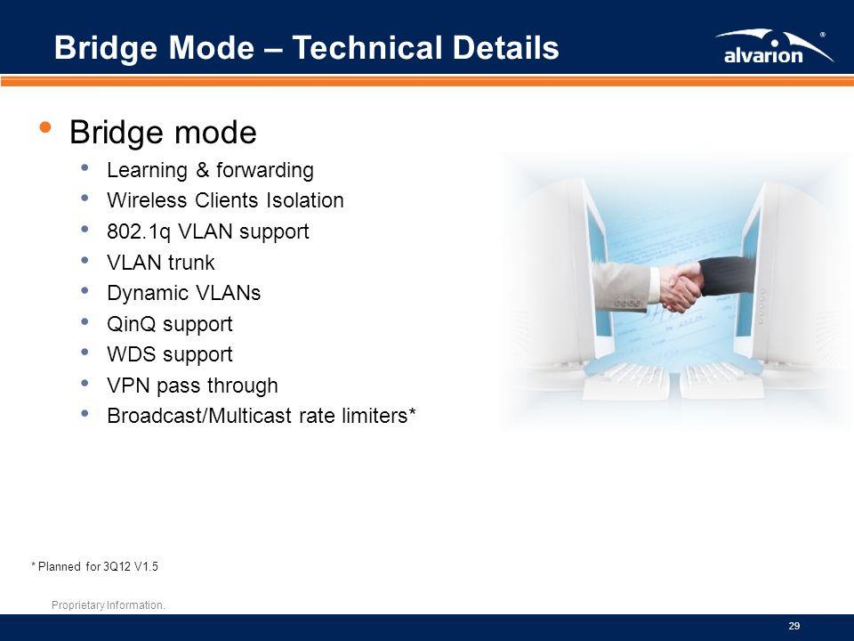 Proprietary Information. 29 Bridge Mode – Technical Details Bridge mode Learning & forwarding Wireless Clients Isolation 802.1q VLAN support VLAN trun