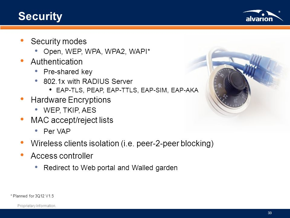 Proprietary Information. 33 Security * Planned for 3Q12 V1.5 Security modes Open, WEP, WPA, WPA2, WAPI* Authentication Pre-shared key 802.1x with RADI