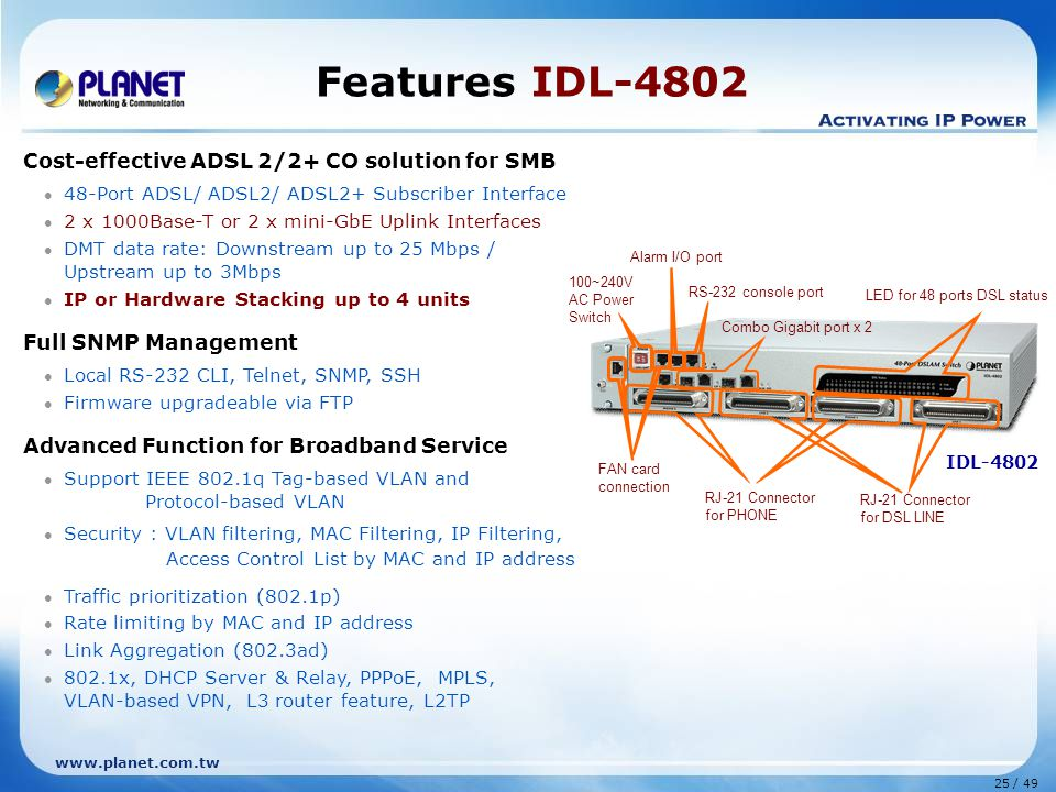 25 / 49 www.planet.com.tw IDL-4802 Features IDL-4802 Cost-effective ADSL 2/2+ CO solution for SMB 48-Port ADSL/ ADSL2/ ADSL2+ Subscriber Interface 2 x 1000Base-T or 2 x mini-GbE Uplink Interfaces DMT data rate: Downstream up to 25 Mbps / Upstream up to 3Mbps IP or Hardware Stacking up to 4 units Full SNMP Management Local RS-232 CLI, Telnet, SNMP, SSH Firmware upgradeable via FTP Advanced Function for Broadband Service Support IEEE 802.1q Tag-based VLAN and Protocol-based VLAN Security : VLAN filtering, MAC Filtering, IP Filtering, Access Control List by MAC and IP address Traffic prioritization (802.1p) Rate limiting by MAC and IP address Link Aggregation (802.3ad) 802.1x, DHCP Server & Relay, PPPoE, MPLS, VLAN-based VPN, L3 router feature, L2TP Combo Gigabit port x 2 RJ-21 Connector for PHONE RJ-21 Connector for DSL LINE 100~240V AC Power Switch RS-232 console port Alarm I/O port FAN card connection LED for 48 ports DSL status