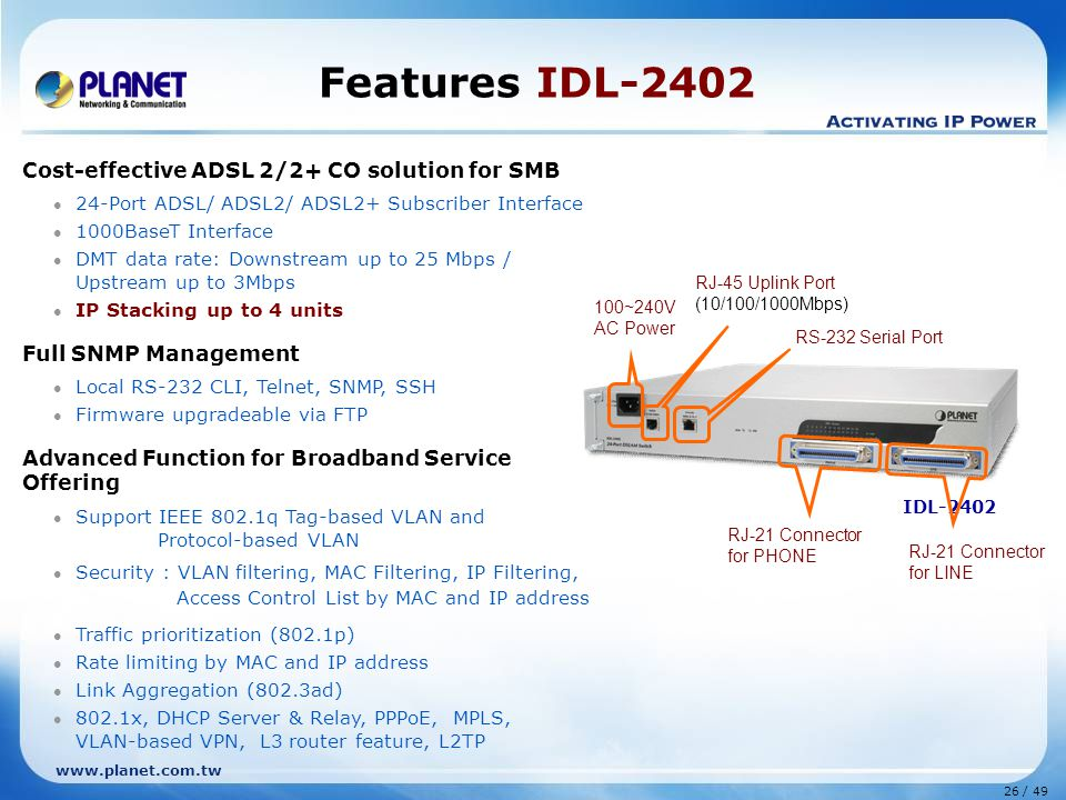 26 / 49 www.planet.com.tw IDL-2402 Features IDL-2402 Cost-effective ADSL 2/2+ CO solution for SMB 24-Port ADSL/ ADSL2/ ADSL2+ Subscriber Interface 1000BaseT Interface DMT data rate: Downstream up to 25 Mbps / Upstream up to 3Mbps IP Stacking up to 4 units Full SNMP Management Local RS-232 CLI, Telnet, SNMP, SSH Firmware upgradeable via FTP Advanced Function for Broadband Service Offering Support IEEE 802.1q Tag-based VLAN and Protocol-based VLAN Security : VLAN filtering, MAC Filtering, IP Filtering, Access Control List by MAC and IP address Traffic prioritization (802.1p) Rate limiting by MAC and IP address Link Aggregation (802.3ad) 802.1x, DHCP Server & Relay, PPPoE, MPLS, VLAN-based VPN, L3 router feature, L2TP RJ-45 Uplink Port (10/100/1000Mbps) RS-232 Serial Port RJ-21 Connector for PHONE RJ-21 Connector for LINE 100~240V AC Power