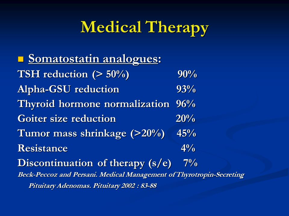 Medical Therapy Somatostatin analogues: Somatostatin analogues: TSH reduction (> 50%) 90% Alpha-GSU reduction 93% Thyroid hormone normalization 96% Go