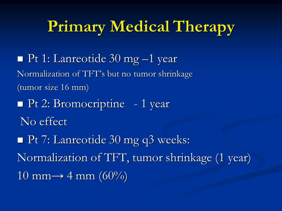Primary Medical Therapy Pt 1: Lanreotide 30 mg –1 year Pt 1: Lanreotide 30 mg –1 year Normalization of TFT's but no tumor shrinkage (tumor size 16 mm) Pt 2: Bromocriptine - 1 year Pt 2: Bromocriptine - 1 year No effect No effect Pt 7: Lanreotide 30 mg q3 weeks: Pt 7: Lanreotide 30 mg q3 weeks: Normalization of TFT, tumor shrinkage (1 year) 10 mm→ 4 mm (60%)