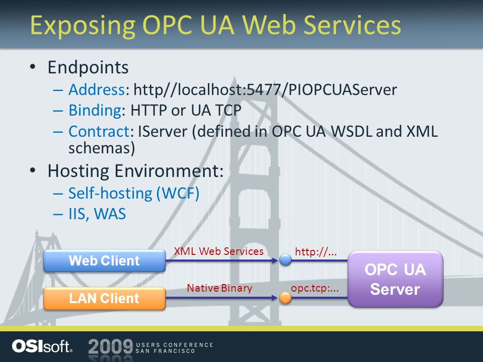 Exposing OPC UA Web Services Endpoints – Address: http//localhost:5477/PIOPCUAServer – Binding: HTTP or UA TCP – Contract: IServer (defined in OPC UA
