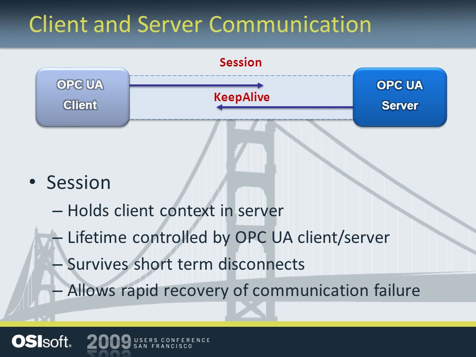 Client and Server Communication Session – Holds client context in server – Lifetime controlled by OPC UA client/server – Survives short term disconnec