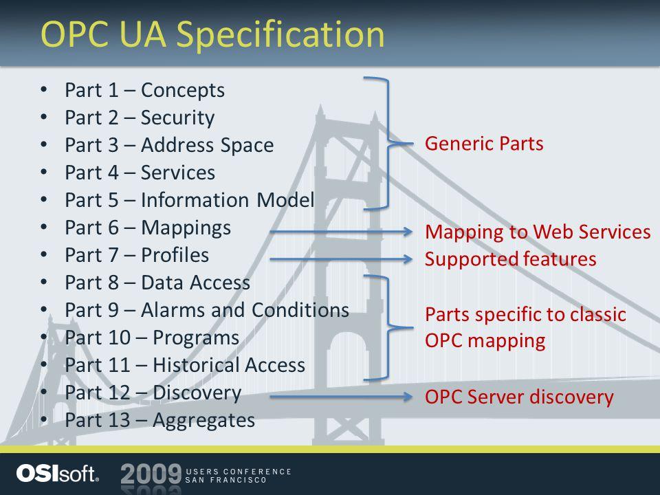 OPC UA Specification Part 1 – Concepts Part 2 – Security Part 3 – Address Space Part 4 – Services Part 5 – Information Model Part 6 – Mappings Part 7