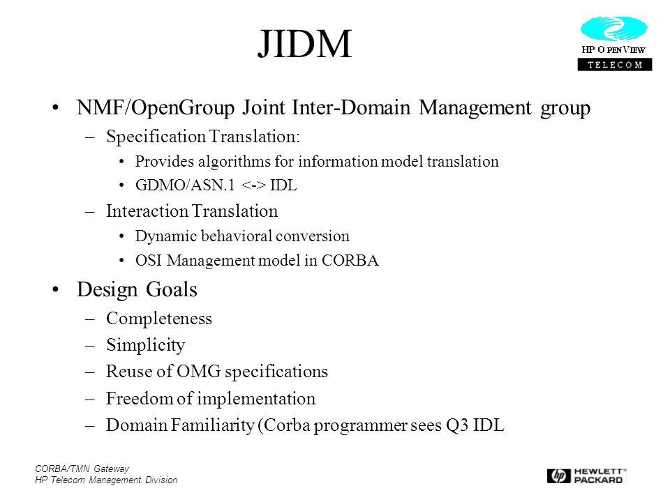 CORBA/TMN Gateway HP Telecom Management Division JIDM NMF/OpenGroup Joint Inter-Domain Management group –Specification Translation: Provides algorithm
