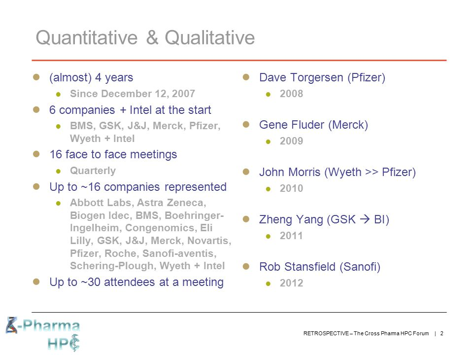 RETROSPECTIVE – The Cross Pharma HPC Forum | 2 Quantitative & Qualitative ● (almost) 4 years ● Since December 12, 2007 ● 6 companies + Intel at the st