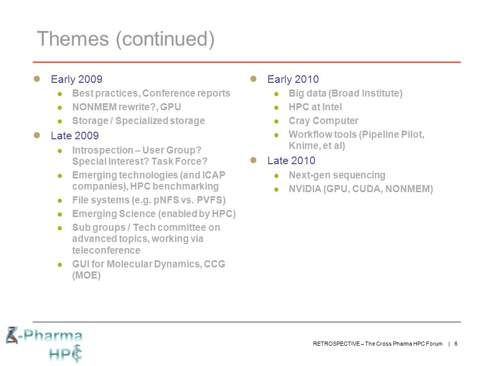 RETROSPECTIVE – The Cross Pharma HPC Forum | 6 Themes (continued) ● Early 2009 ● Best practices, Conference reports ● NONMEM rewrite?, GPU ● Storage /