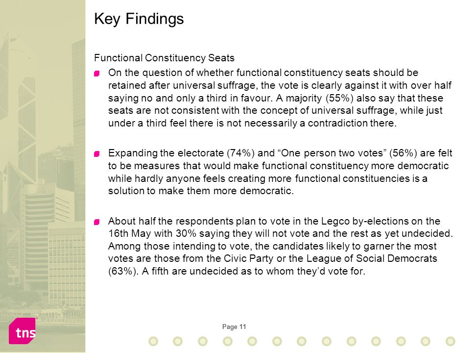 Page 11 Functional Constituency Seats On the question of whether functional constituency seats should be retained after universal suffrage, the vote i