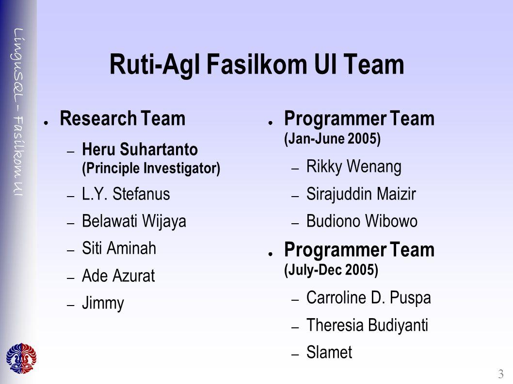 LinguSQL – Fasilkom UI 3 Ruti-AgI Fasilkom UI Team ● Research Team – Heru Suhartanto (Principle Investigator) – L.Y. Stefanus – Belawati Wijaya – Siti