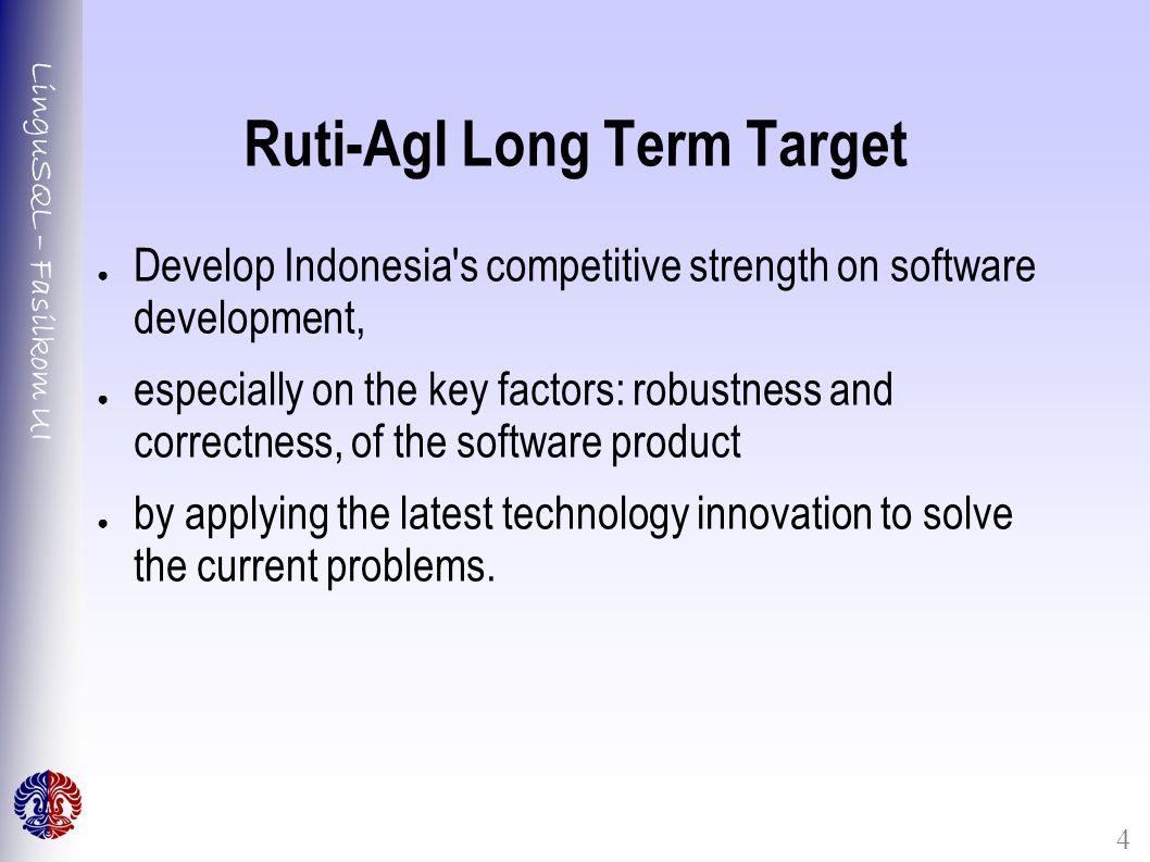LinguSQL – Fasilkom UI 4 Ruti-AgI Long Term Target ● Develop Indonesia's competitive strength on software development, ● especially on the key factors