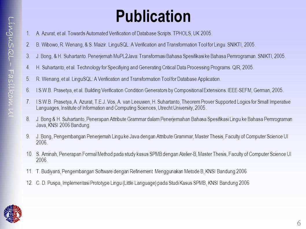 LinguSQL – Fasilkom UI 6 Publication 1.A. Azurat, et al.