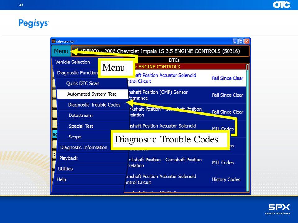 43 Diagnostic Trouble Codes Menu