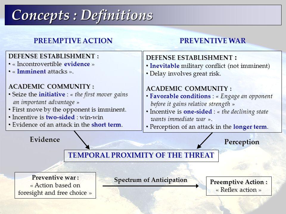 Concepts : Definitions Concepts : Definitions DEFENSE ESTABLISHMENT : « Incontrovertible evidence » « Incontrovertible evidence » « Imminent attacks »