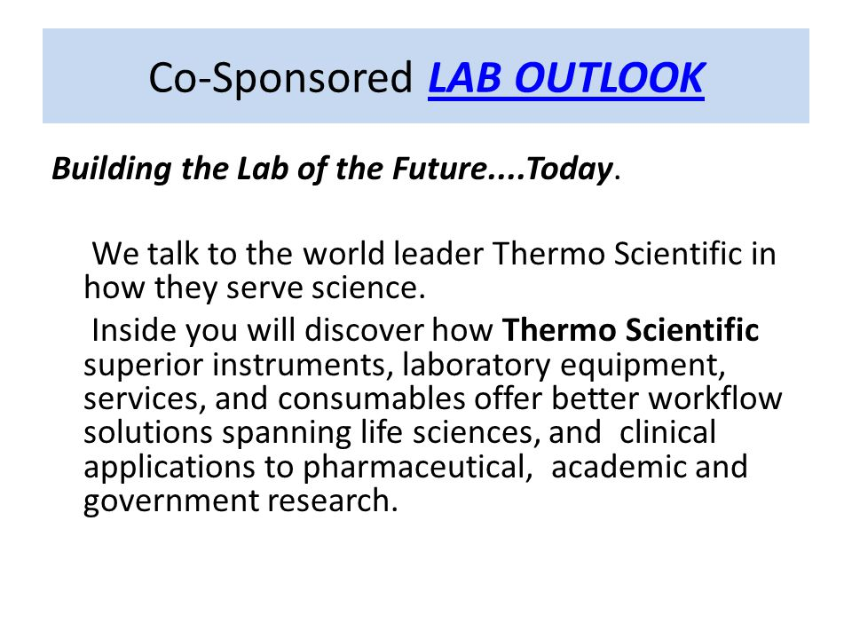 Building the Lab of the Future....Today.