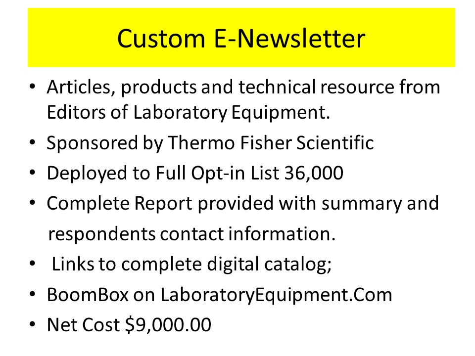 Custom E-Newsletter Articles, products and technical resource from Editors of Laboratory Equipment.