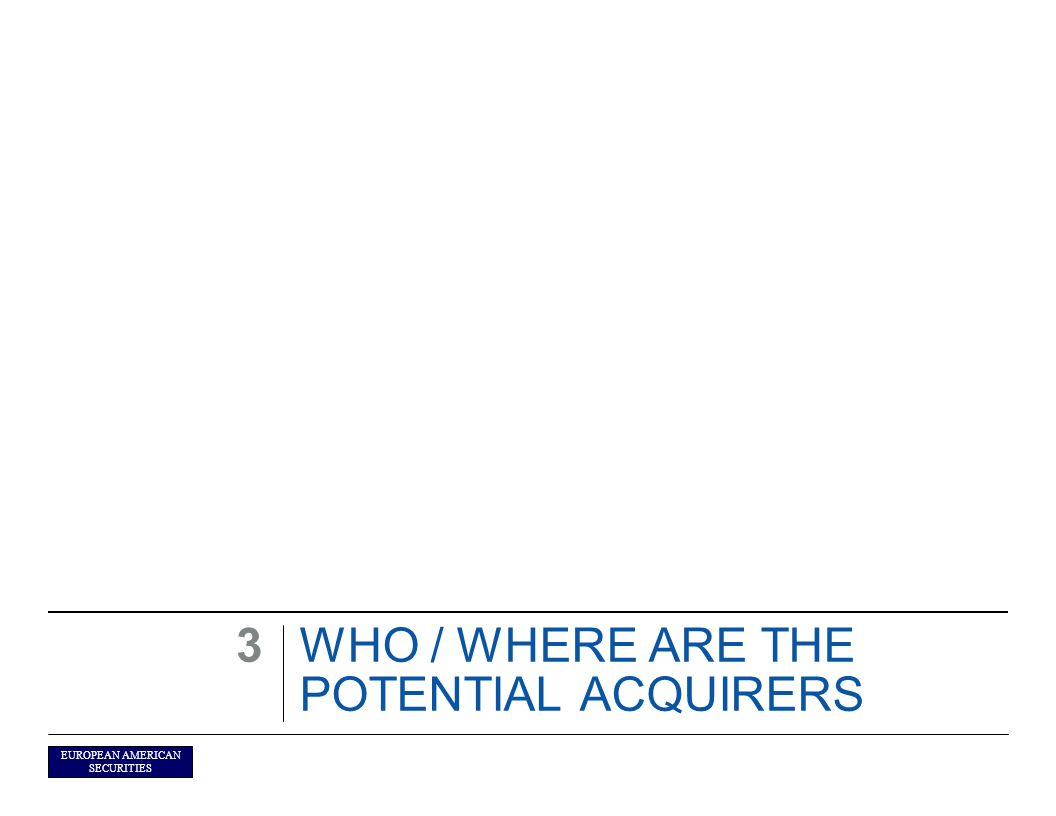 EUROPEAN AMERICAN SECURITIES WHO / WHERE ARE THE POTENTIAL ACQUIRERS 3