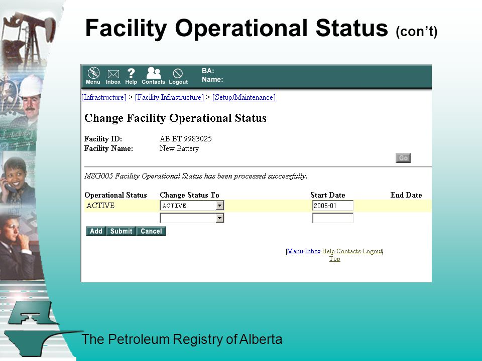 The Petroleum Registry of Alberta Facility Operational Status (con't)