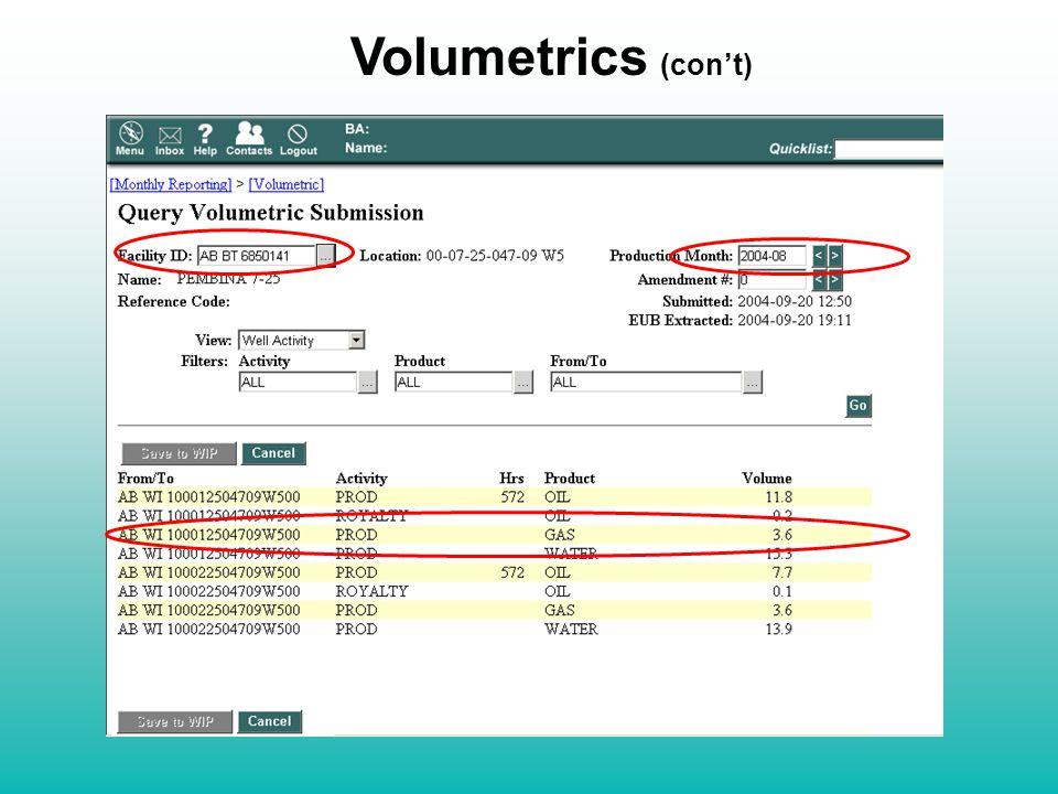 Volumetrics (con't)