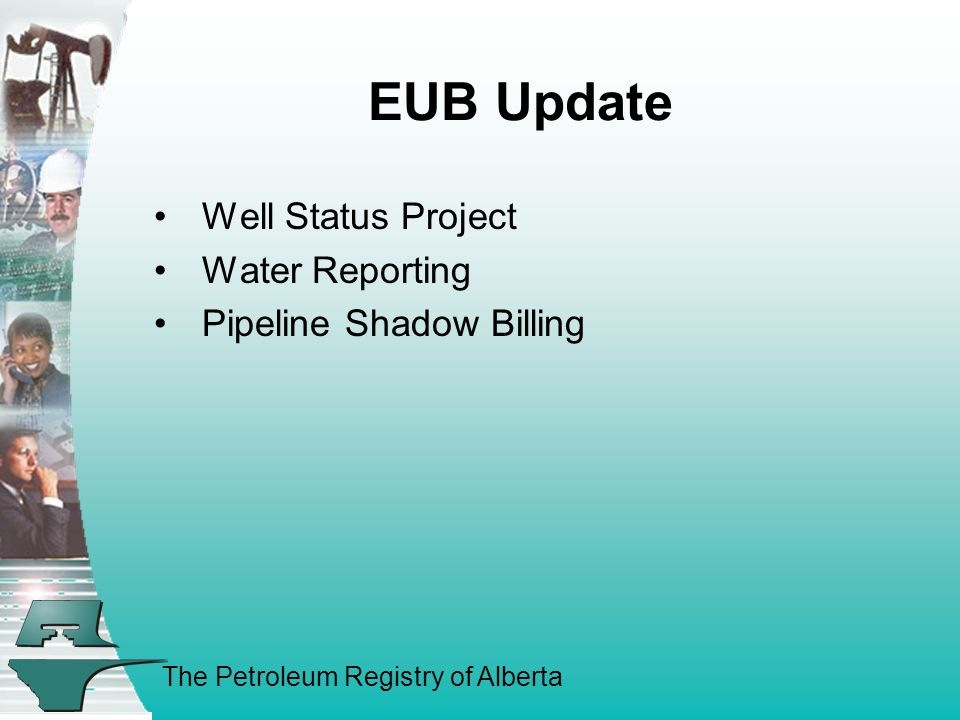 The Petroleum Registry of Alberta EUB Update Well Status Project Water Reporting Pipeline Shadow Billing