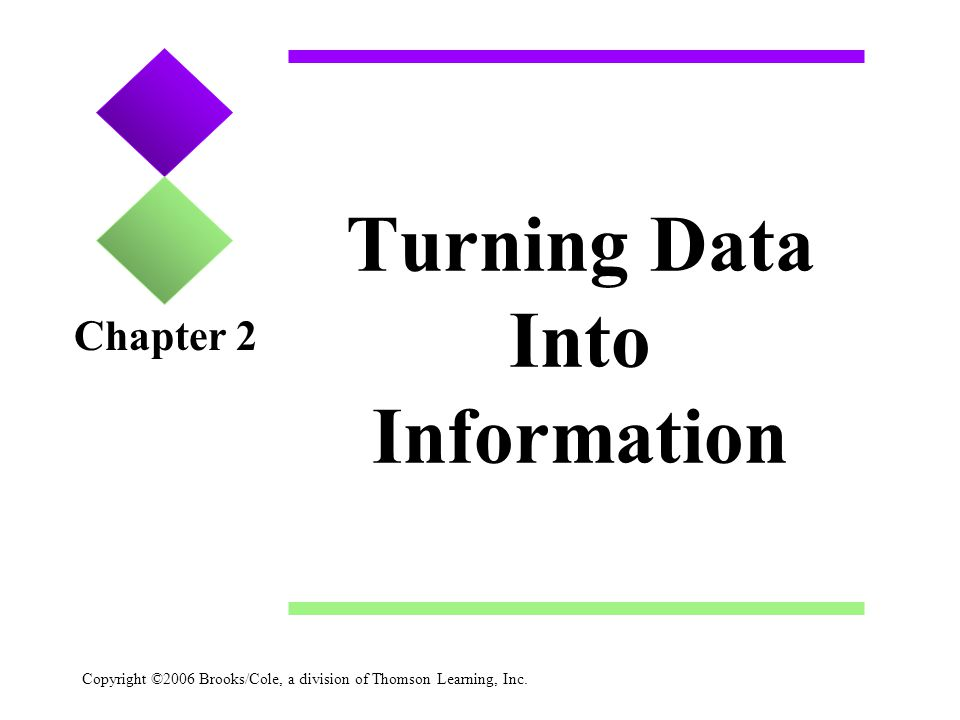 Copyright ©2006 Brooks/Cole, a division of Thomson Learning, Inc. Turning Data Into Information Chapter 2