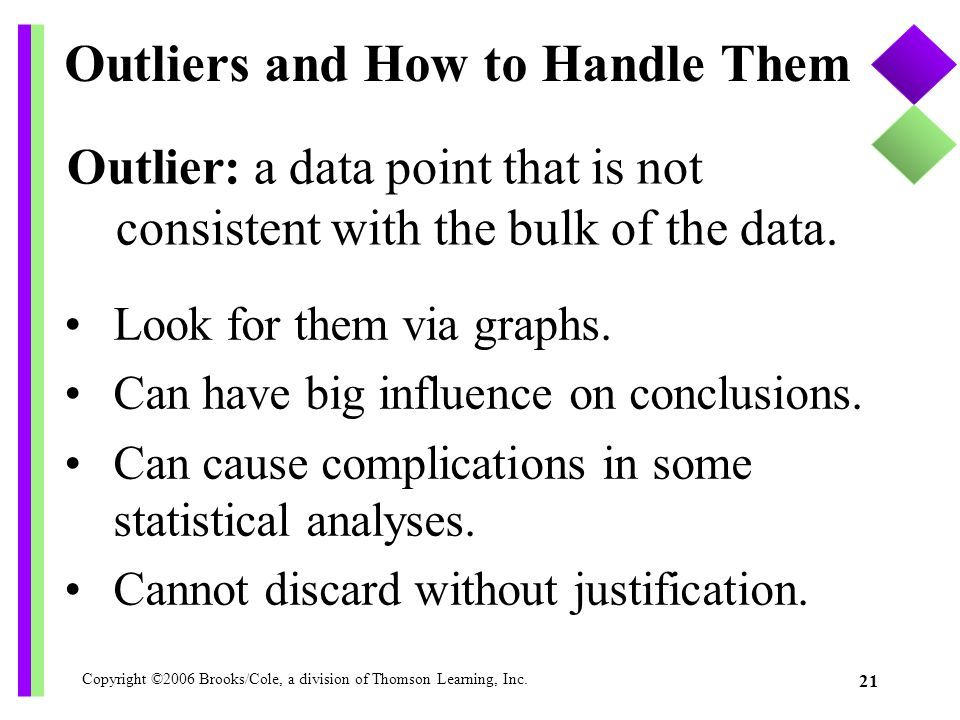 Copyright ©2006 Brooks/Cole, a division of Thomson Learning, Inc. 21 Outlier: a data point that is not consistent with the bulk of the data. Outliers