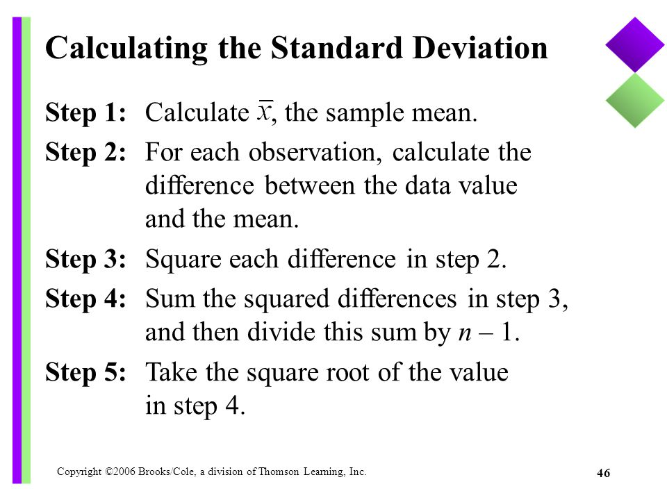 Copyright ©2006 Brooks/Cole, a division of Thomson Learning, Inc. 46 Step 1: Calculate, the sample mean. Step 2: For each observation, calculate the d
