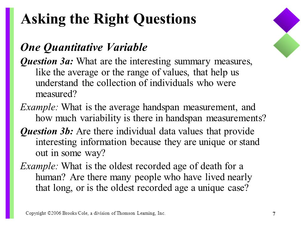 Copyright ©2006 Brooks/Cole, a division of Thomson Learning, Inc. 7 Asking the Right Questions One Quantitative Variable Question 3a: What are the int