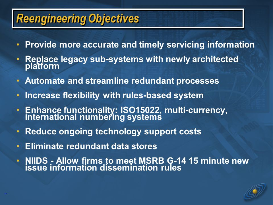 6 Security Master Files Shared Interfaces Corporate Actions Underwriting * NIIDS Pieces of the solution A unified end-to-end platform from issuance through the entire asset servicing life cycle: Underwriting – Corporate Actions – integrated with Master files and other Core Depository functions