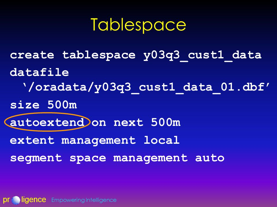 prligence Empowering Intelligence Tablespace create tablespace y03q3_cust1_data datafile '/oradata/y03q3_cust1_data_01.dbf' size 500m autoextend on ne