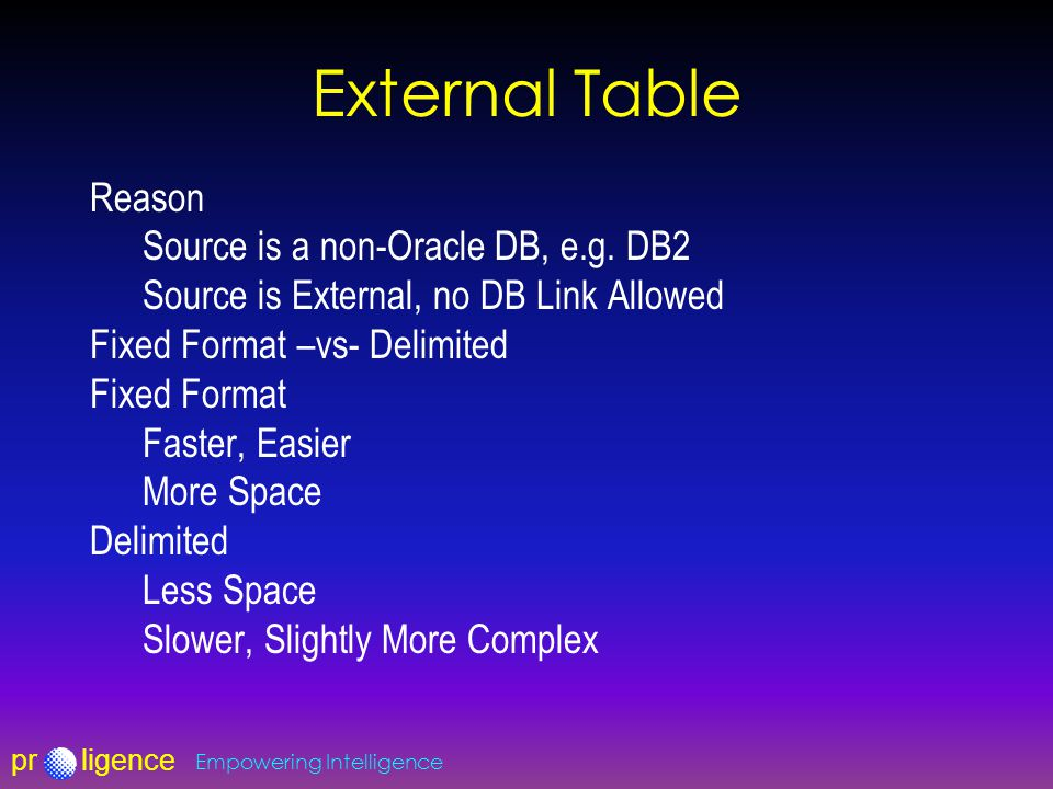 prligence Empowering Intelligence External Table Reason Source is a non-Oracle DB, e.g.