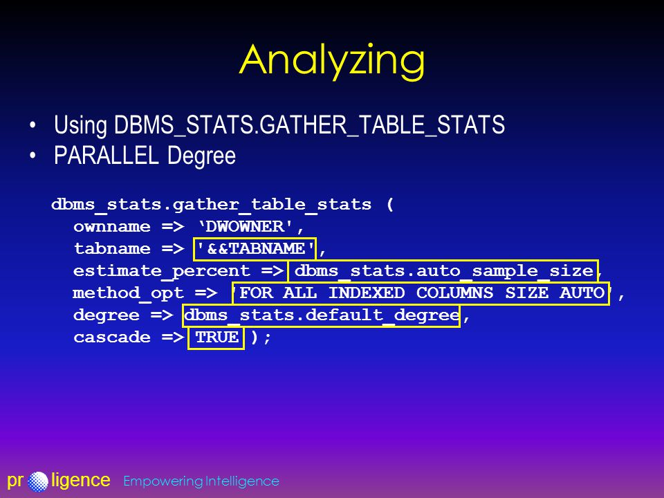 prligence Empowering Intelligence Analyzing Using DBMS_STATS.GATHER_TABLE_STATS PARALLEL Degree dbms_stats.gather_table_stats ( ownname => 'DWOWNER',