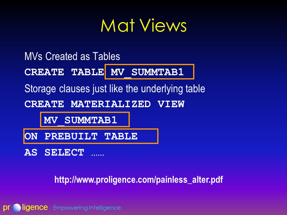 prligence Empowering Intelligence Mat Views MVs Created as Tables CREATE TABLE MV_SUMMTAB1 Storage clauses just like the underlying table CREATE MATERIALIZED VIEW MV_SUMMTAB1 ON PREBUILT TABLE AS SELECT …… http://www.proligence.com/painless_alter.pdf
