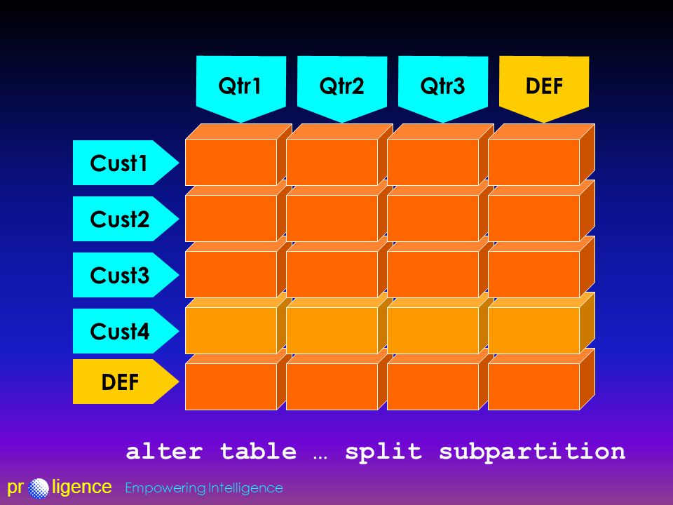 prligence Empowering Intelligence Qtr1 Qtr2Qtr3 DEF Cust1 Cust2 Cust3 DEF Cust4 alter table … split subpartition