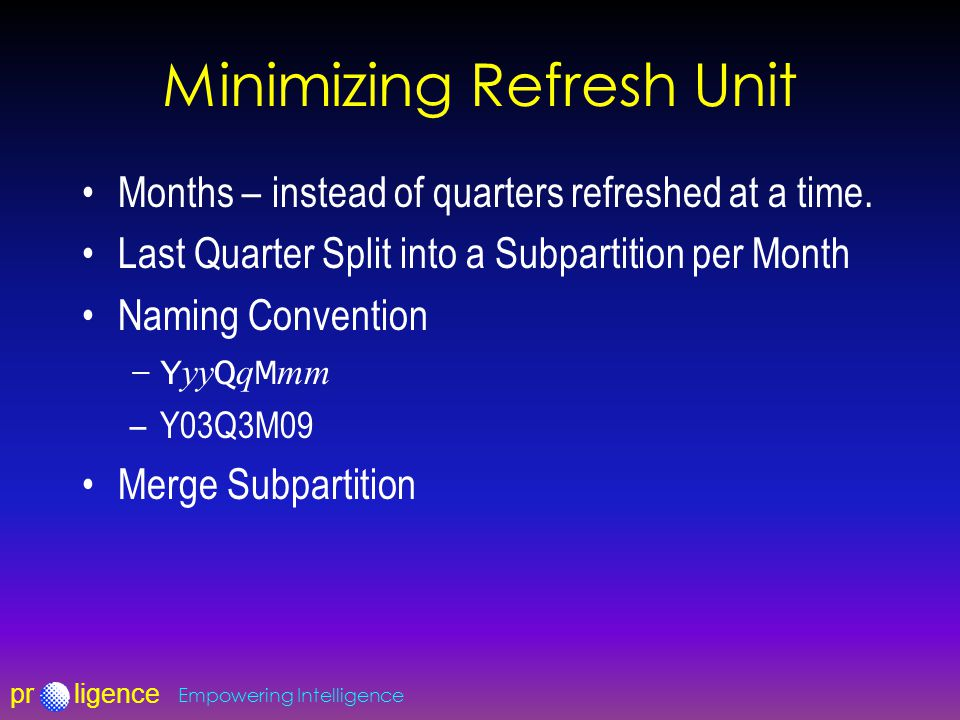 prligence Empowering Intelligence Minimizing Refresh Unit Months – instead of quarters refreshed at a time.