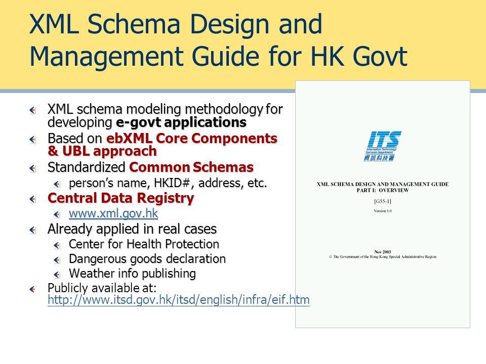 XML Schema Design and Management Guide for HK Govt XML schema modeling methodology for developing e-govt applications Based on ebXML Core Components &